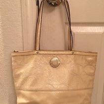 Coach Beige Patent Leather Tote Shoulder Bag Photo