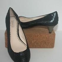 Coach Bekka Pumps Kitten Heels Black Pearl Snake Skin Print Leather Size 7.5 B Photo
