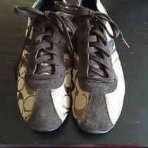 Coach Belina Brown/khaki Fashion Sneakers Womens Size 7.5 M New 128 Suede Photo
