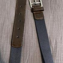 Coach Belt Brown Leather & Navy Canvas Unisex Size Med  Photo