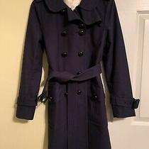 Coach Belted Knee Length Trench Jacket (Navy Blue) Size 2-Great Condition Photo
