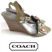 Coach Bezel Olive Green Patent Leather Stacked Wedge Heel Sandals Sz 7 1/2 B Photo