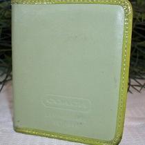 Coach Bifold Bi-Fold Leather Photo Frame Wallet Lime Green Patent Trim Photo