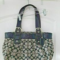 Coach Black and Grey Purse Tote Satchel Shoulder Bag Authentic Gray Clothe Photo