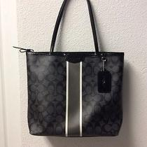 Coach Black and Silver Signature Stripe  Medium Zip Top Tote With Tags Photo