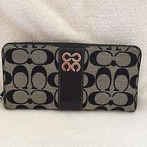 Coach Black and White Zip Around Accordion Wallet Photo