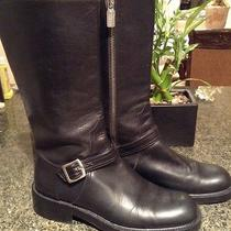 Coach Black Beautiful Heavy Leather Motorcycle Boots 7 B Photo