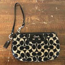 Coach Black Beige Signature C Wristlet Wallet Credit Card Handbag (9 X 5 X 1)  Photo