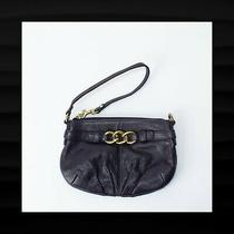 Coach Black & Brass Chain Large Pleated Pebbled Leather Wristlet Wallet Clutch Photo