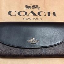 Coach Black/brown Large Envelope Wallet - New 250 Retail Photo