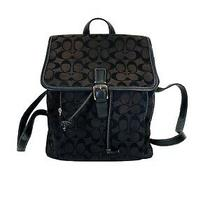 Coach Black / Brown  Signature Jacquard & Leather Drawstring Backpack 6080 Photo