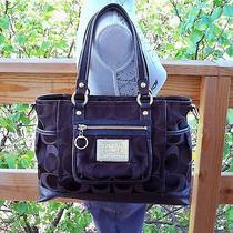 Coach Black/brown Signature Sateen Poppy Book Tote Bag Handbag Purse 14364 Photo