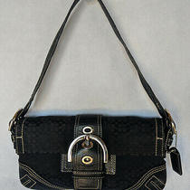 Coach Black c's Canvas & Leather Small Messenger Hobo Flap Bag Purse F05q-3628 Photo