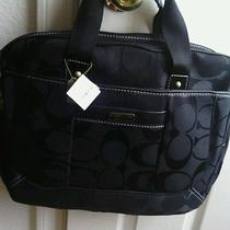 Coach Black Canvas Laptop Bag Nwt and Detachable Long Strap Photo