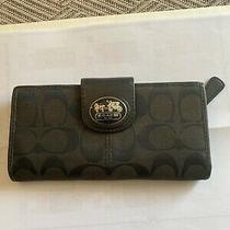 Coach Black Canvas Leather Interior Patent Leather Trim Bi-Fold Wallet Photo