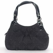 Coach Black Cotton Canvas Black Hobo Bag  Photo
