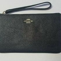 Coach Black Crossgrain Leather Corner Zip Wristlet -- Original Never Used Photo