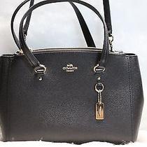Coach Black Crossgrain Leather Women's Stanton Carryall Tote Handbag 395- Photo