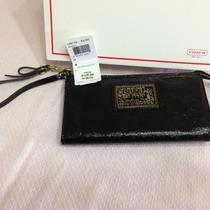 Coach Black Daisy Liquid Glossy Zippy Wallet (Nwt) Photo