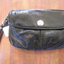 Coach Black Flap Patent Leather Large Wristlet- 47216 Nwt Photo