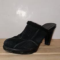 Coach Black Fur Suede Platform Clog Heels Mules Slip on Flip Flops 8.5  Photo