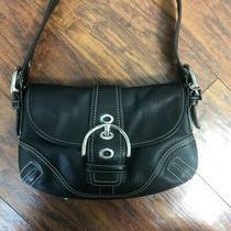 Coach Black Genuine Leather Flap Buckle Hobo Satchel Shoulder Bag Handbag Purse Photo