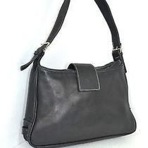 Coach Black Genuine Leather Shoulder Bag Shoulder Handbag / Small Hobo  Photo
