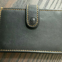 Coach Black Glove Tanned Leather Accordion Card Case Wallet Euc Photo