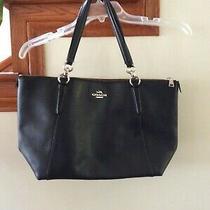 Coach  Black Grain Leather Xl Shoulder Business Travel Tote Purse Bag  Photo