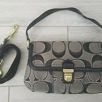 Coach Black & Gray C Canvas Shoulder Bag Handbag Purse Photo