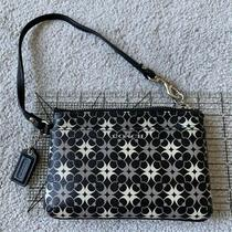 Coach Black Gray Cream Signature C Wristlet Clutch Corner Zip Outer Pocket Photo