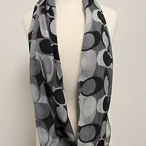 Coach Black Gray Logo Print Infinity Scarf Photo
