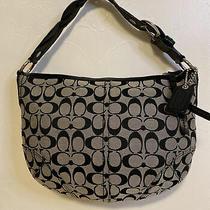 Coach Black & Gray Soho Signature Jacquard Hobo Style Shoulder Bag Purse 11858  Photo