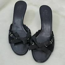 Coach Black Heel Suede Shoes Sandals Women Size 9b Photo