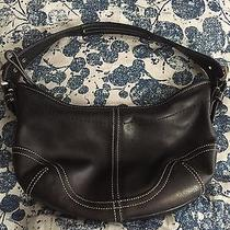 Coach Black Hobo Leather W Topstitching Small Shoulder Bag Photo