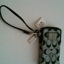Coach Black Jacquard C Logo Signature Wristlet - Nwt Photo