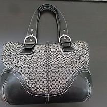 Coach Black Jacquard Leather Signature Handbag Photo