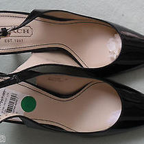 Coach   Black Lacquered High Heel  Shoes  Size 8.5 M (B)made in Italy   New  Photo