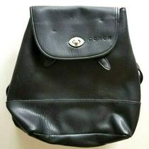 Coach Black Leather Backpack Drawstring Daypack Turn Lock Vintage  Photo