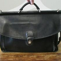 Coach Black Leather Beeker Portfolio Laptop Briefcase Messenger Bag 5266 Photo
