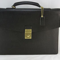 Coach Black Leather Briefcase With Gold Hardware Photo