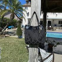 Coach Black Leather & Brown Logo Print Canvas Snap Top Purse Shoulder Bag Photo