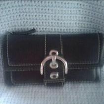 Coach Black Leather Buckle Envelope Wallet Photo