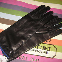 Coach Black Leather & Cashmere Lined Gloves Nwt 82821 Sz 7 or Sz 8 Receipt New Photo