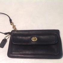 Coach Black Leather Cell Phone Wristlet Wallet Photo