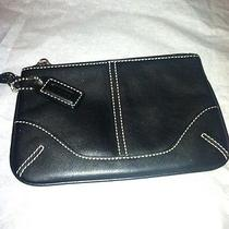 Coach Black Leather Coin Purse Clutch Cell Phone Case Photo