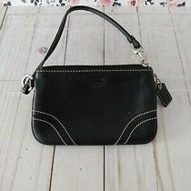 Coach Black Leather Contrast Stitching Wristlet (Pre-Owned) Photo