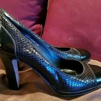 Coach Black Leather Embossed Snakeskin Heels Size 10 Photo