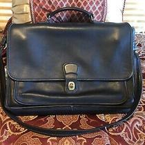 Coach Black Leather Executive Messenger Laptop Briefcase Bag - Vtg Photo