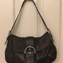 Coach Black Leather Flap Hobo Shoulder Bag Satchel Purse Handbag 9248 Silver Acc Photo